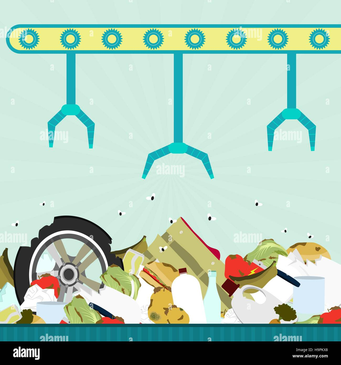 Machine (conveyor) with grippers carrying garbage in landfill. Garbage contains tires, rotten foods, plastics, glass - Stock Vector