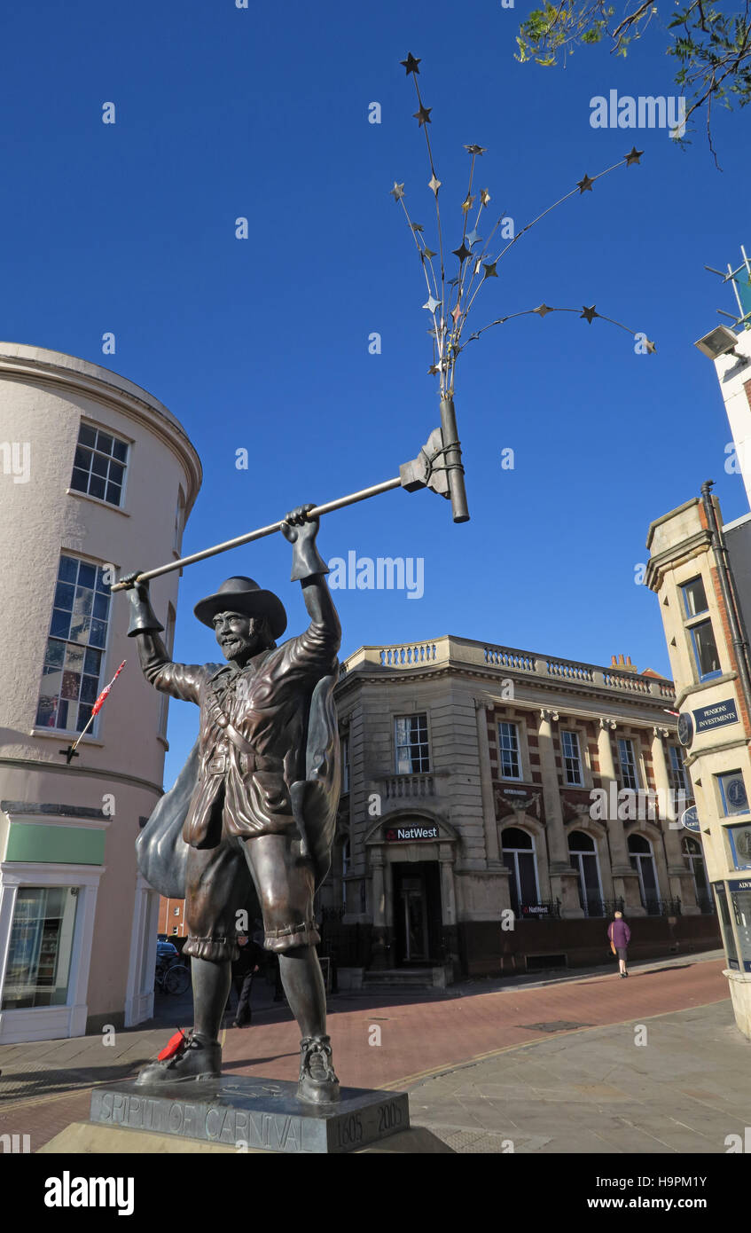 Bridgwater, Somerset, SW England - Guy Fawkes statue - Stock Image