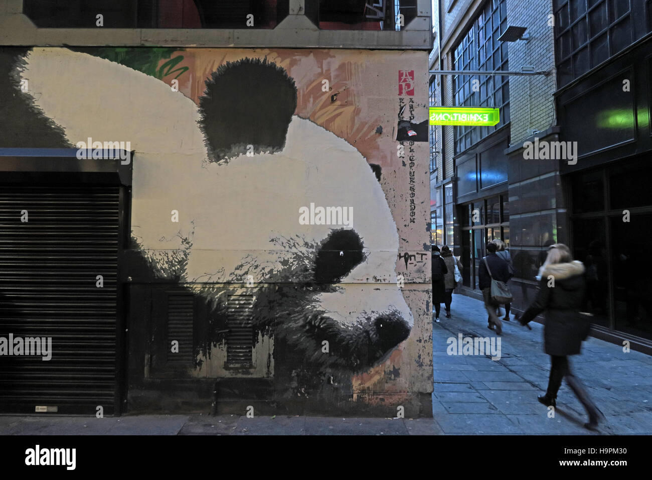 Panda graffiti,Mitchell Lane,Glasgow,Scotland,UK - Stock Image
