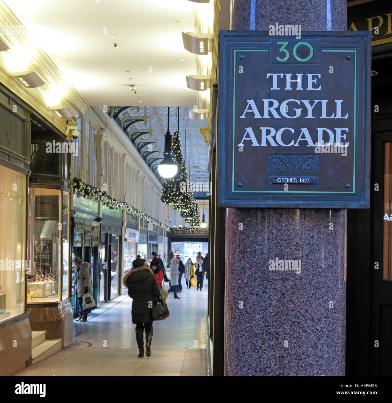 Entrance to the Argyll Arcade,Glasgow,Scotland,UK - Stock Image