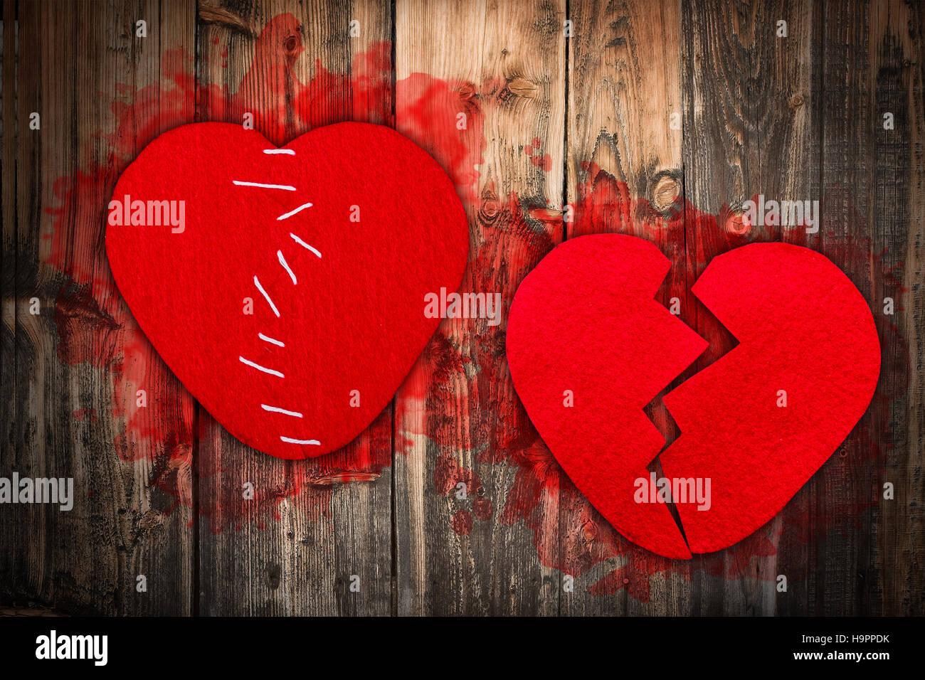 Broken heart concept - Stock Image