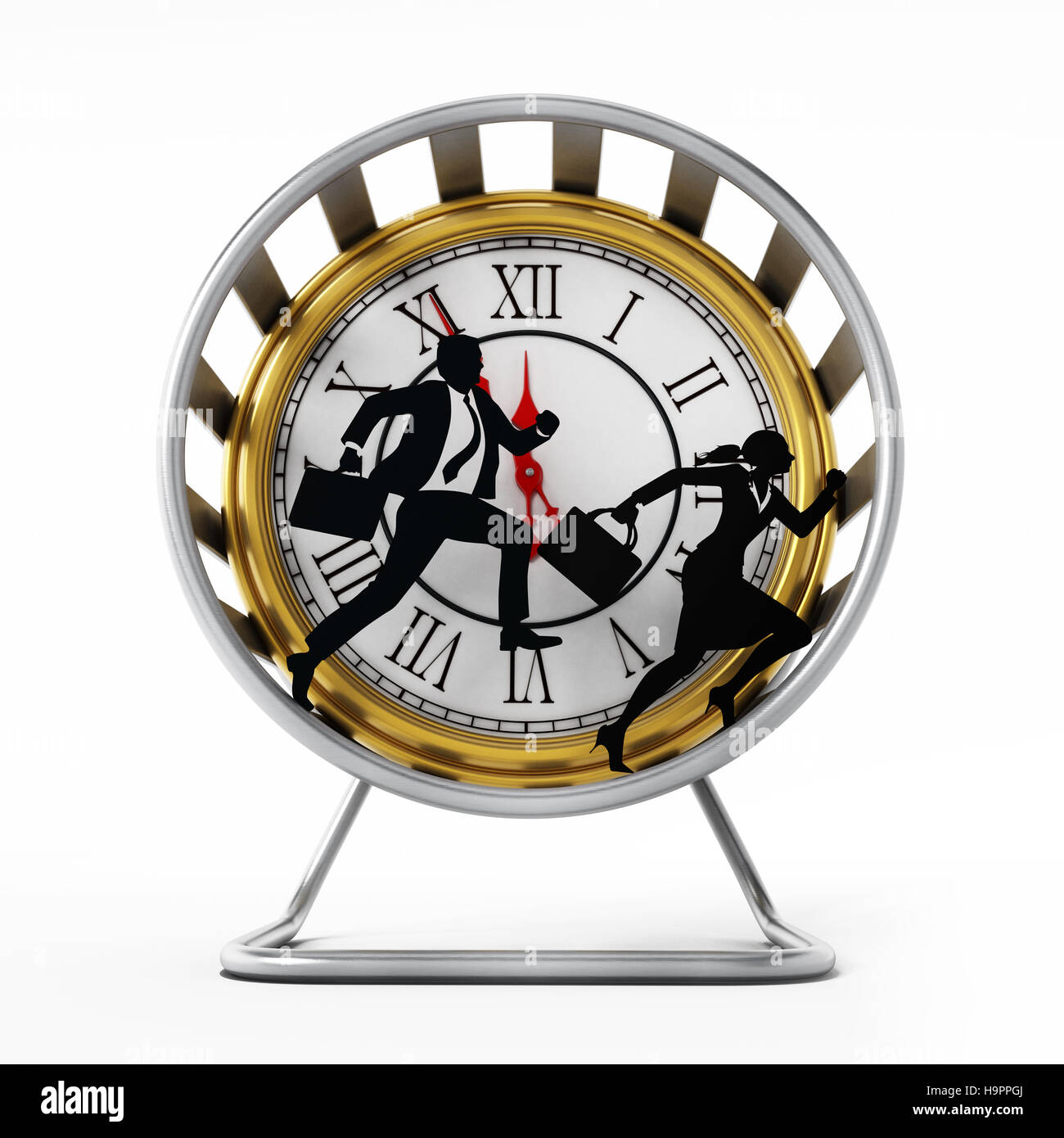 Businessman and business woman silhouettes running in the hamster wheel. 3D illustration. - Stock Image