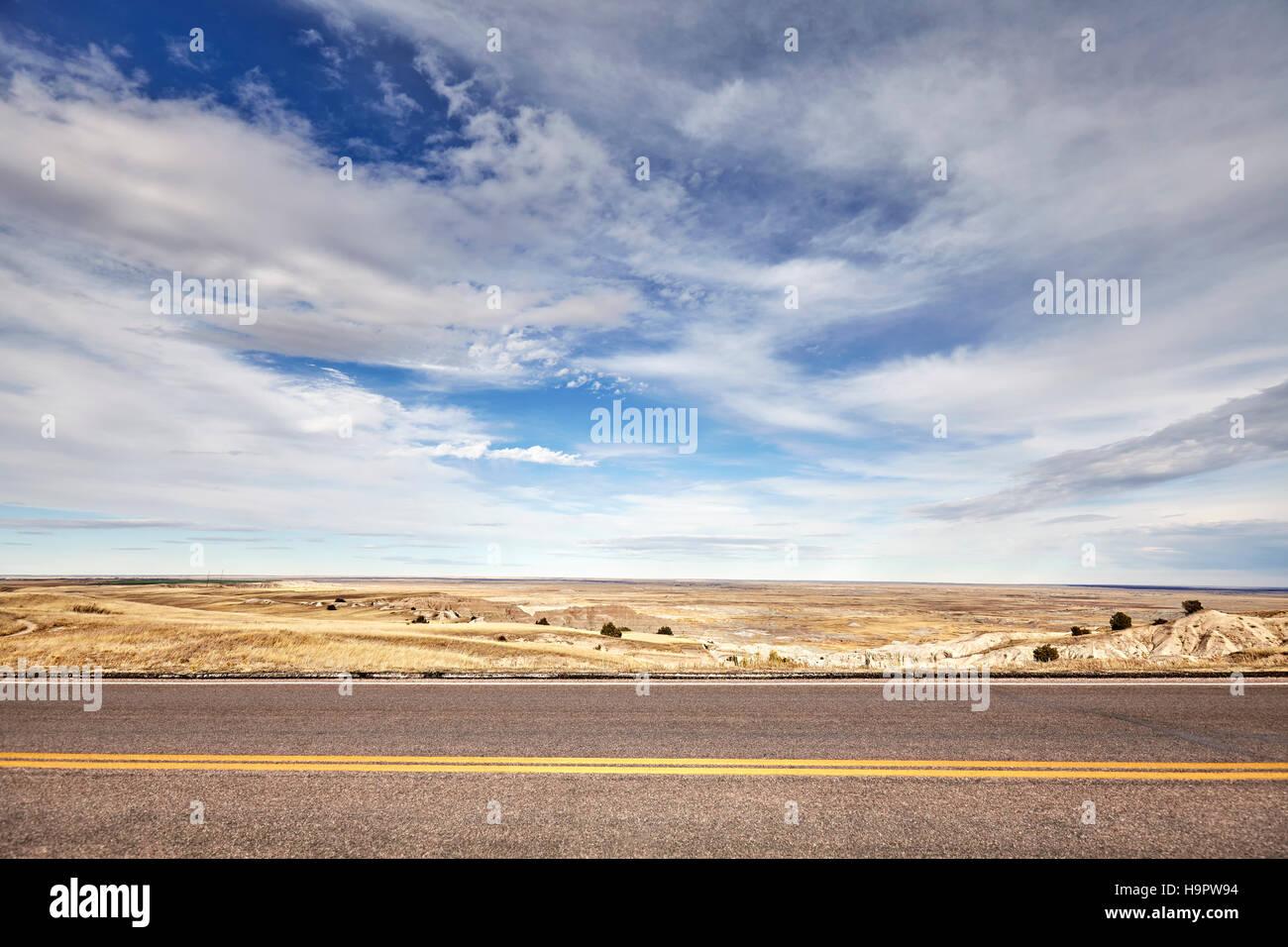 Desert road, travel concept background, USA. - Stock Image