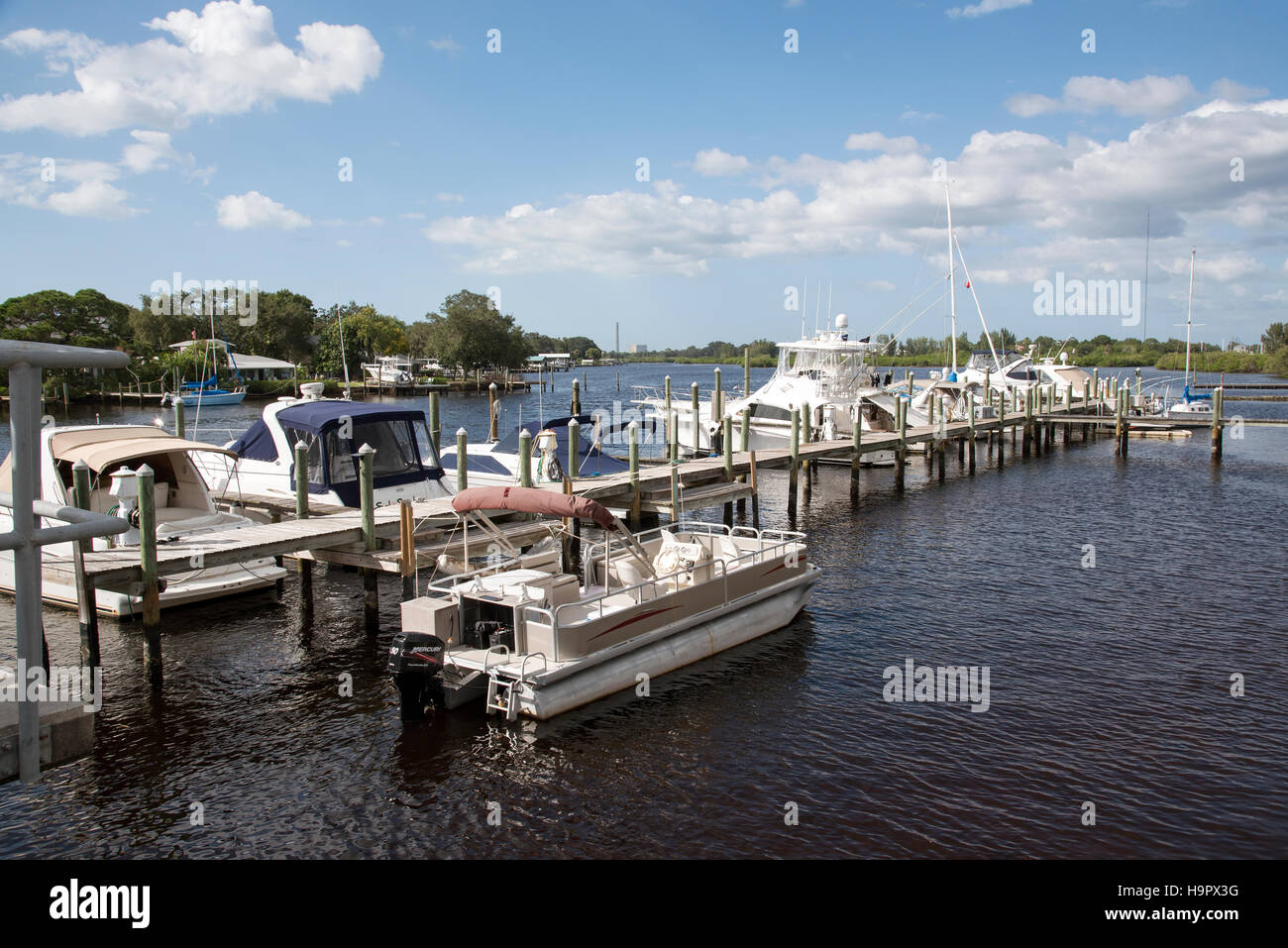 Tarpon Springs Florida USA - An overview of pleasure cruisers docked at Tarpon Bayou Fl US - Stock Image
