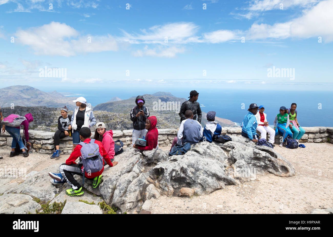 a mixed group of black and white south african teenagers on