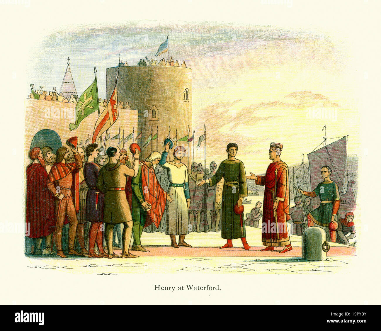 King Henry II of England landing at Waterford in Ireland. Doyle Chronicle of England - Stock Image