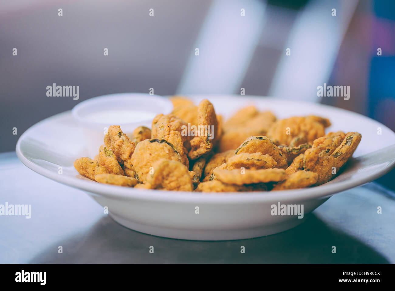 Deep-fried dill pickles, Cajun food - Stock Image