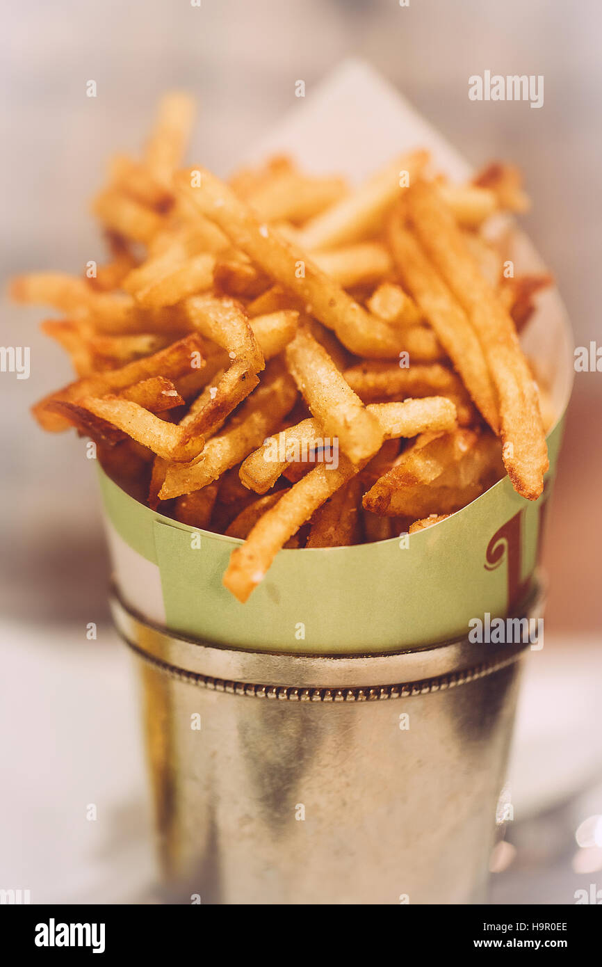 French Fries in Tin Metal Bucket - Stock Image