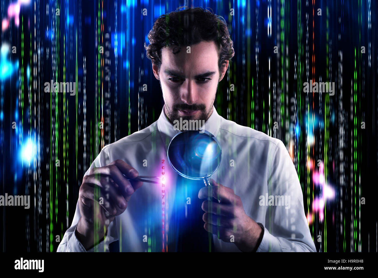 Examine and search a virus - Stock Image