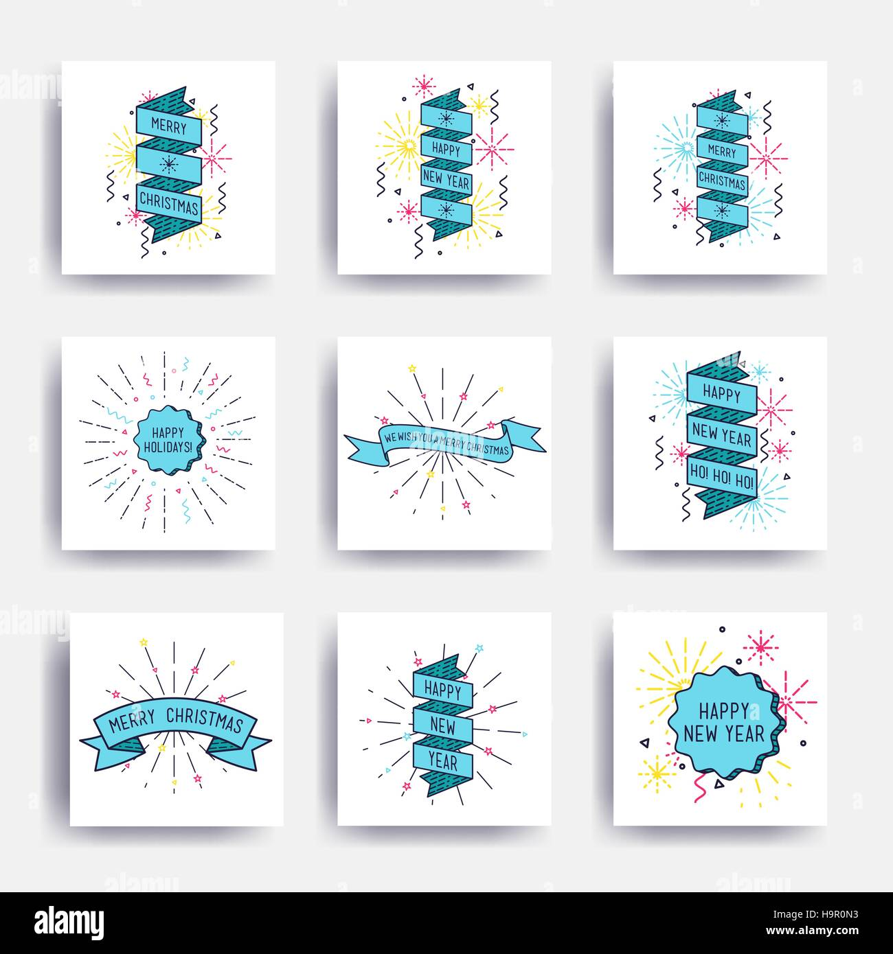 Merry Christmas New Year Design Linear Flat Icon Set Bright Simple