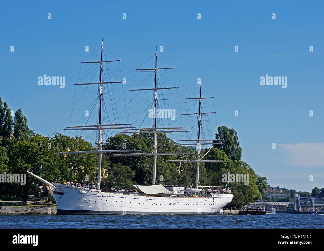 af Chapman tall ship used as a youth hostel on Stockholm harbor waterfront. Stock Photo