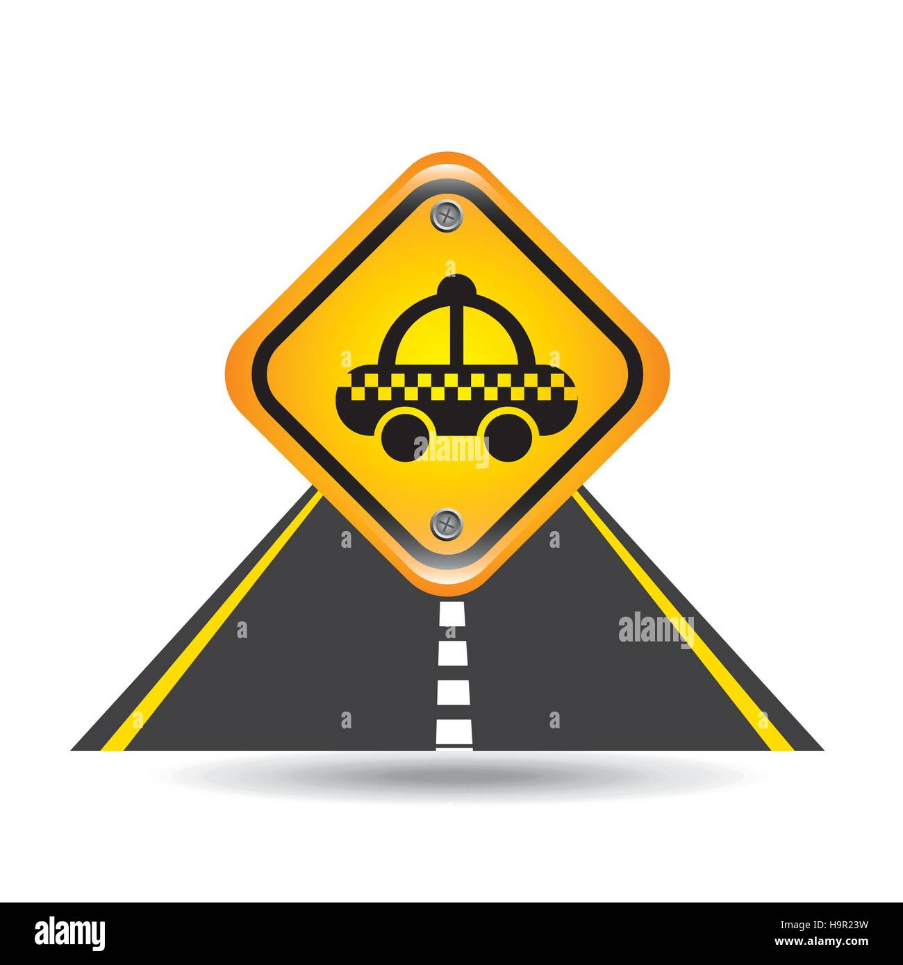 taxi yellow road street sign vector illustration eps 10 - Stock Image