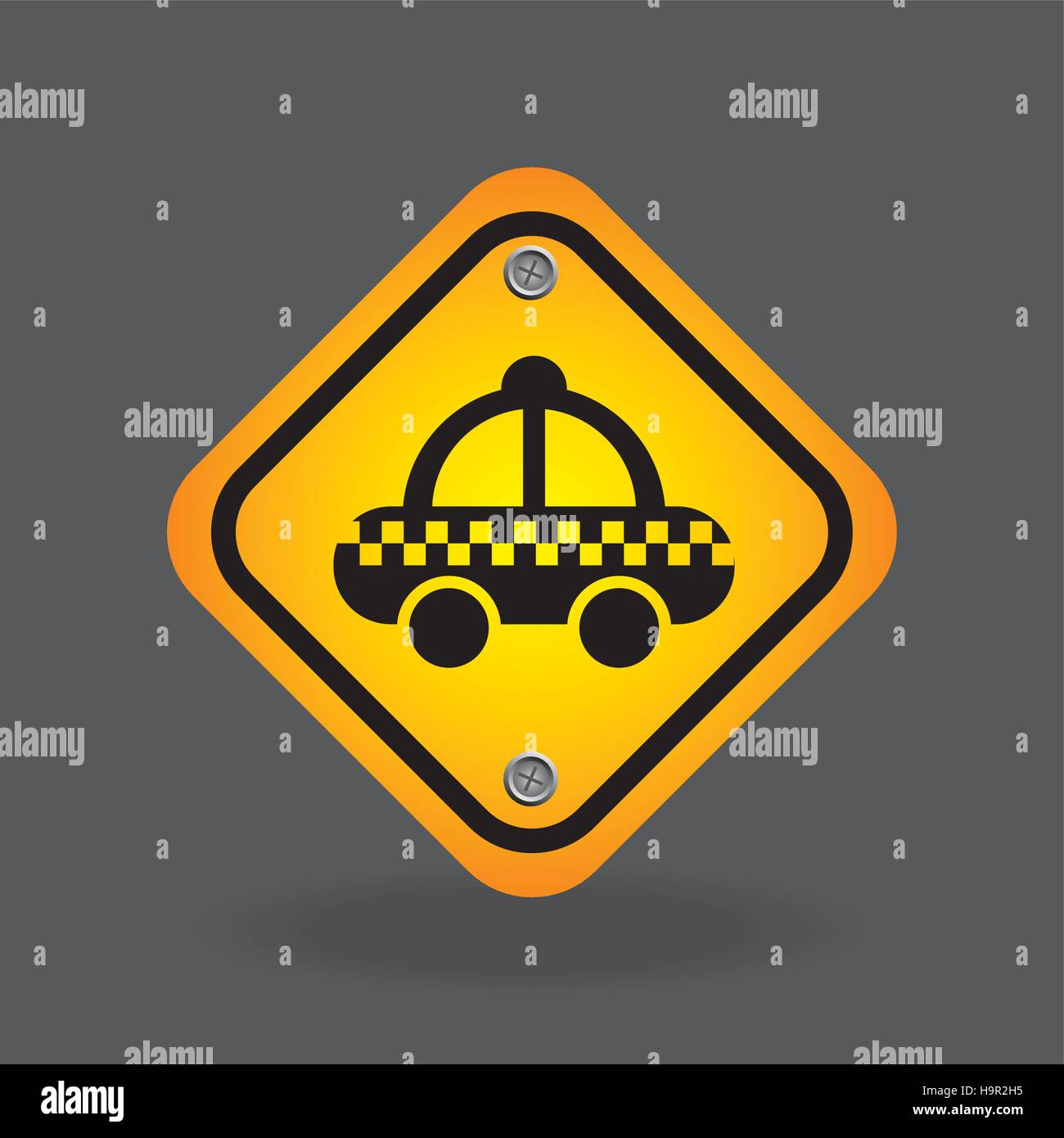 taxi yellow road street sign vector illustration eps 10 - Stock Vector