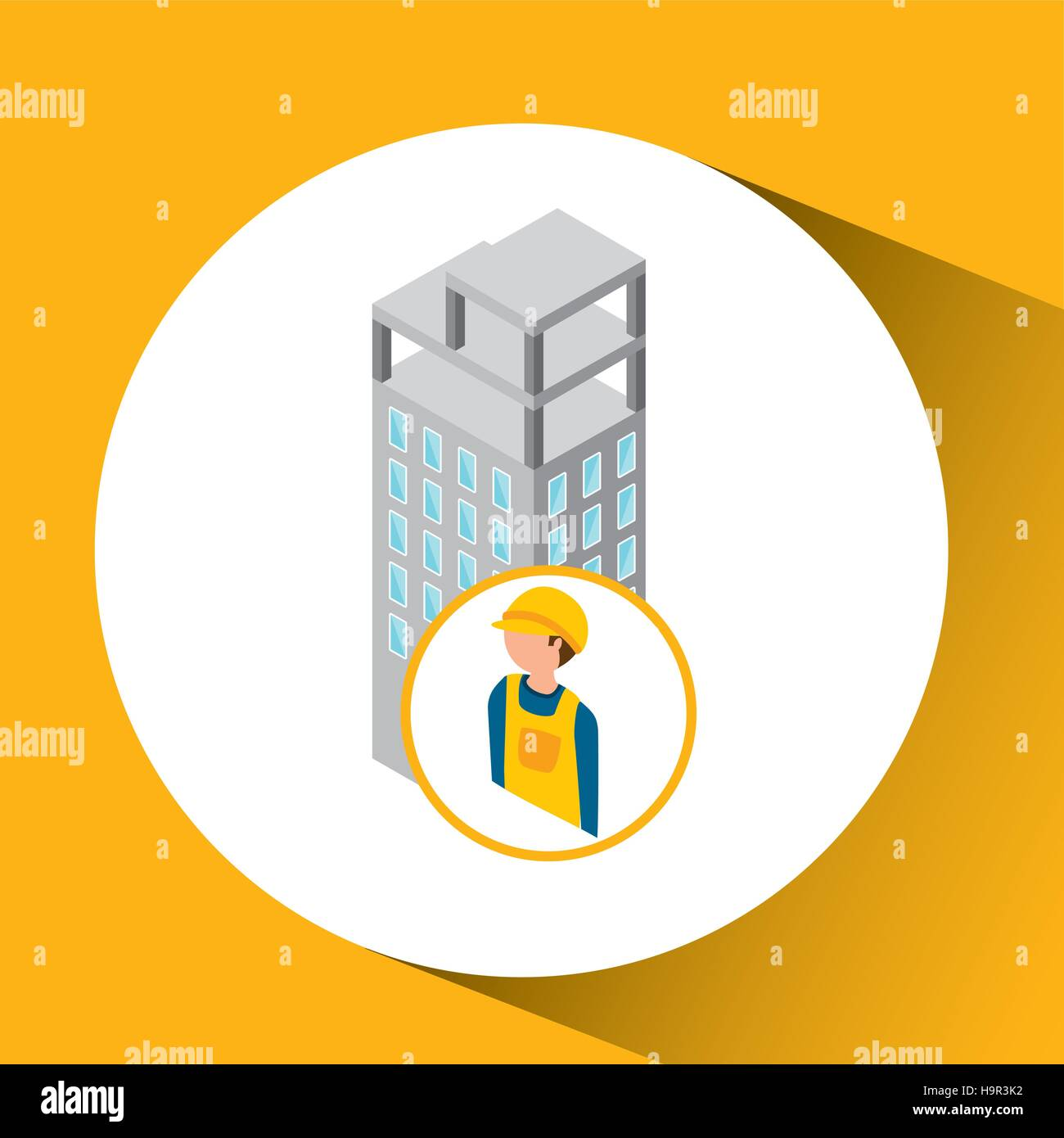 under construction worker  with building vector illustration eps 10 - Stock Vector