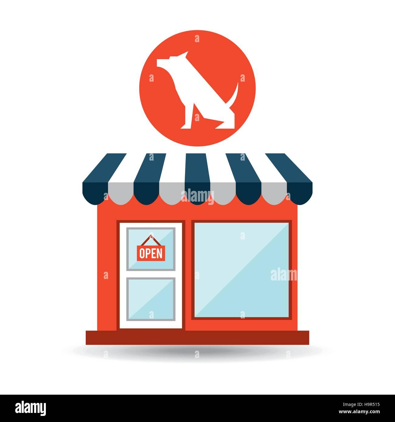 pet shop with dog sitting vector illustration eps 10 - Stock Image
