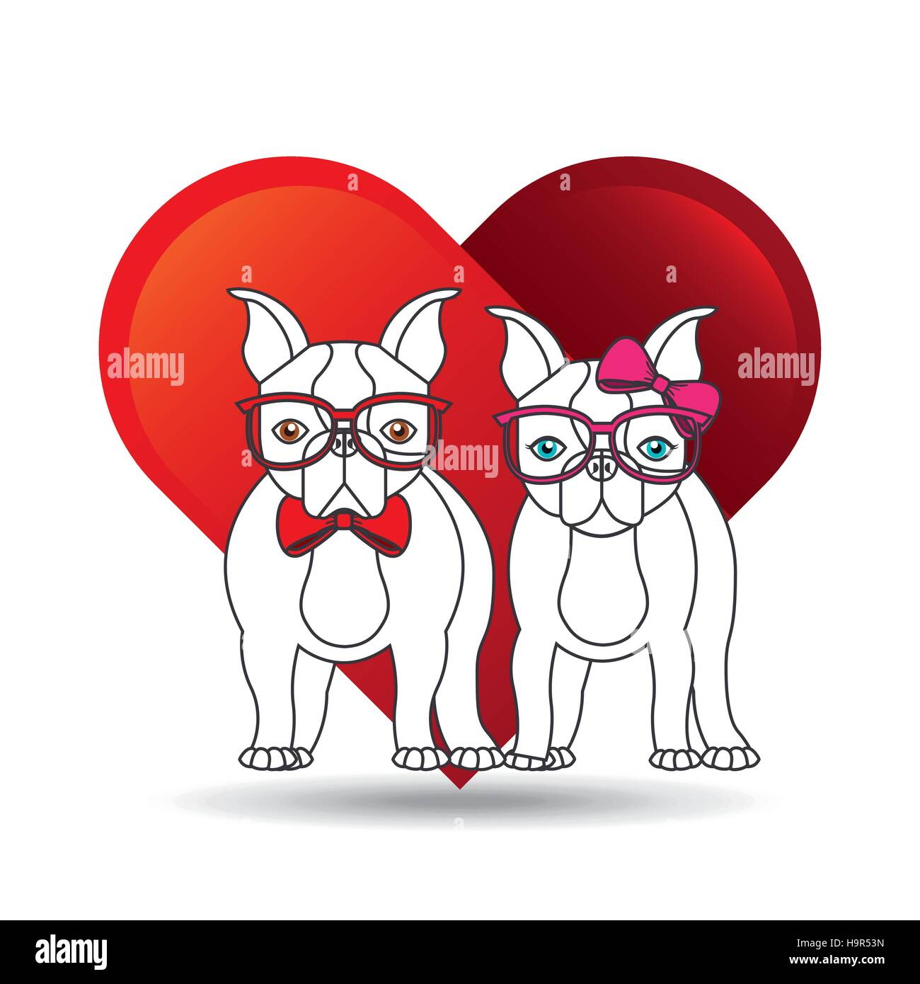 Cute Couple Dog Pet With Glasses Bow Heart Background Vector Stock