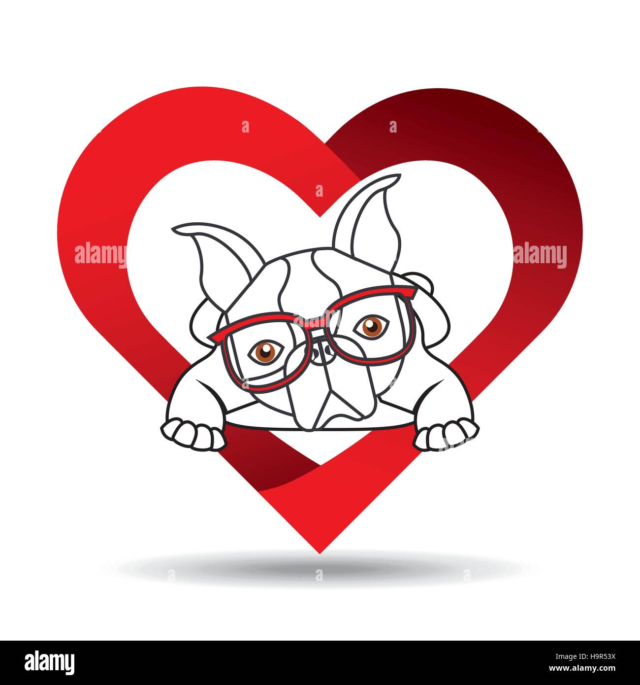 Hand Draw Cute Dog Pet With Glasses Heart Background Vector Stock