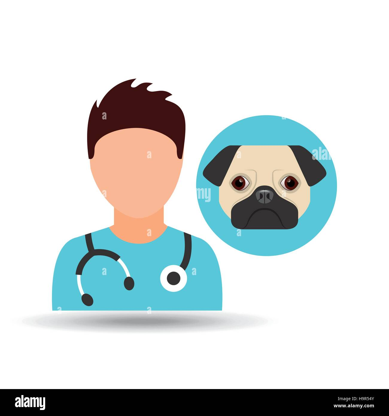 doctor cartoon veterinarian dog pug vector illustration eps 10 - Stock Image