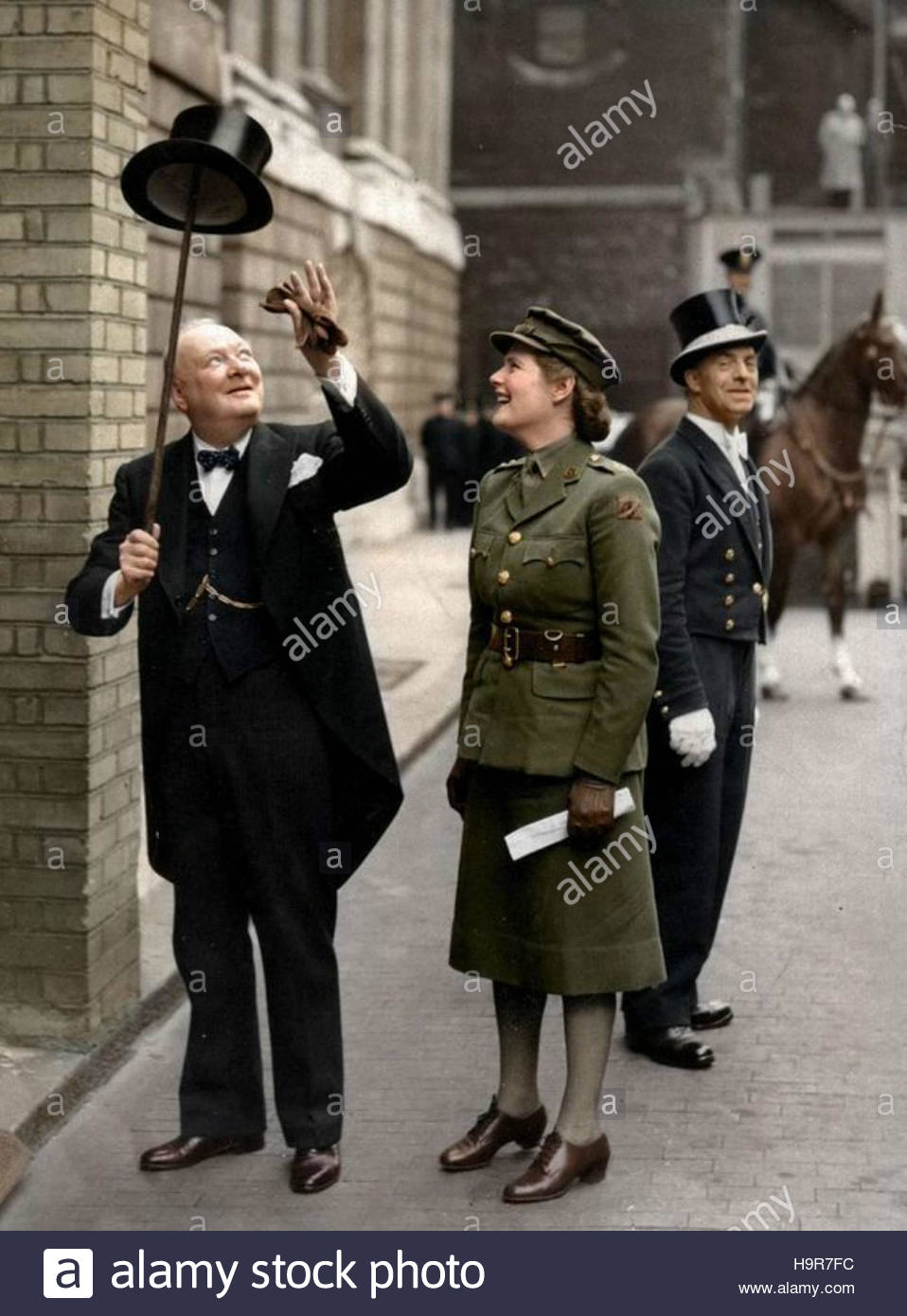 Rare photograph of Sir Winston Churchill with his daughter Lady Mary Soames on Downing St. in London - Stock Image