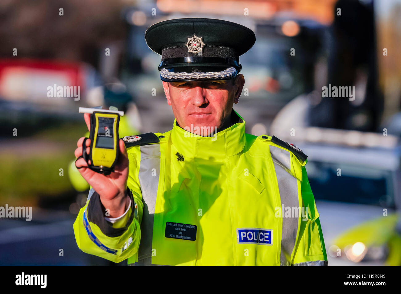 Belfast, Northern Ireland. 24 Nov 2016 - PSNI launch their new winter drink-driving operation.  Assistant Chief - Stock Image