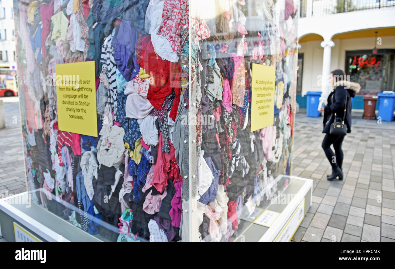 Brighton, UK. 25th Nov, 2016. An anti Black Friday art installation which is part of the #BrightFriday Festival - Stock Image