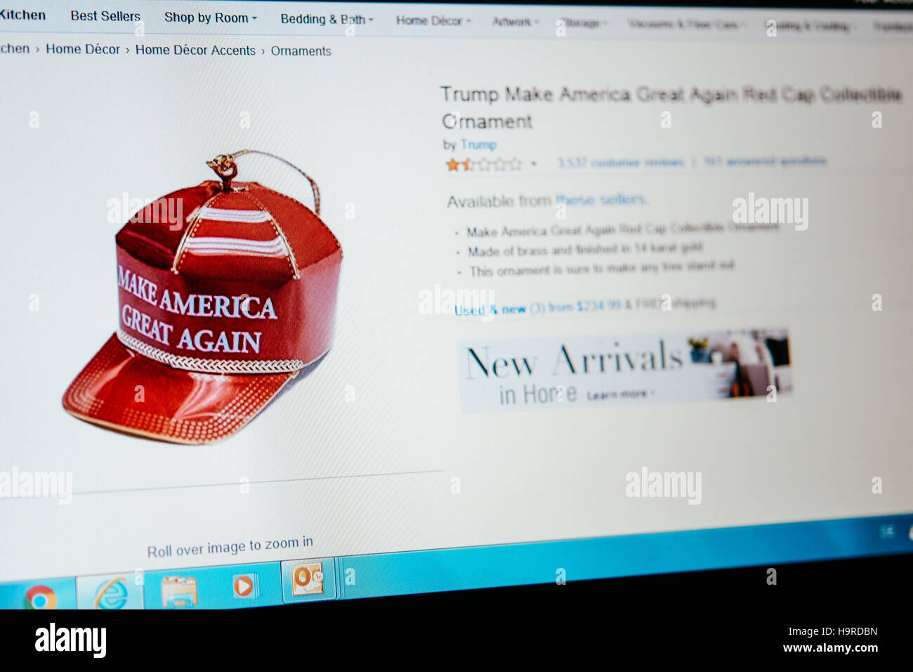 picture of donald trumps christmas ornament of his red cap with the imprint make america