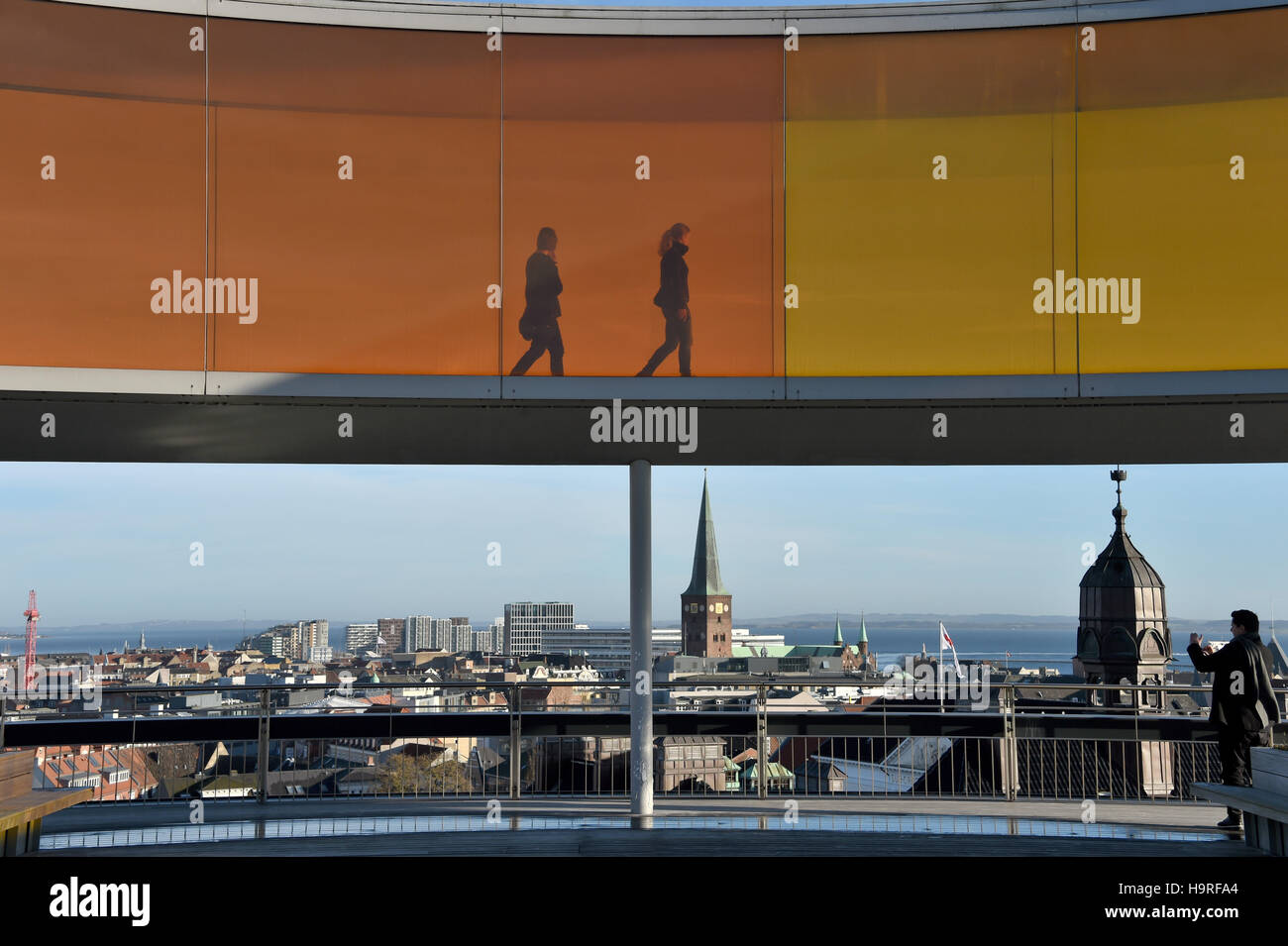Aarhus, Denmark. 24th Nov, 2016. Visitors walk through the installation 'Your Panorama rainbow' by the Berlin - Stock Image