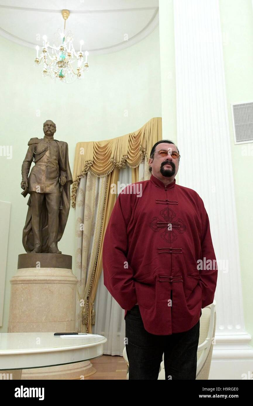 American actor Steven Seagal waits for Russian President Vladimir Putin during a visit to the Kremlin November 25, - Stock Image