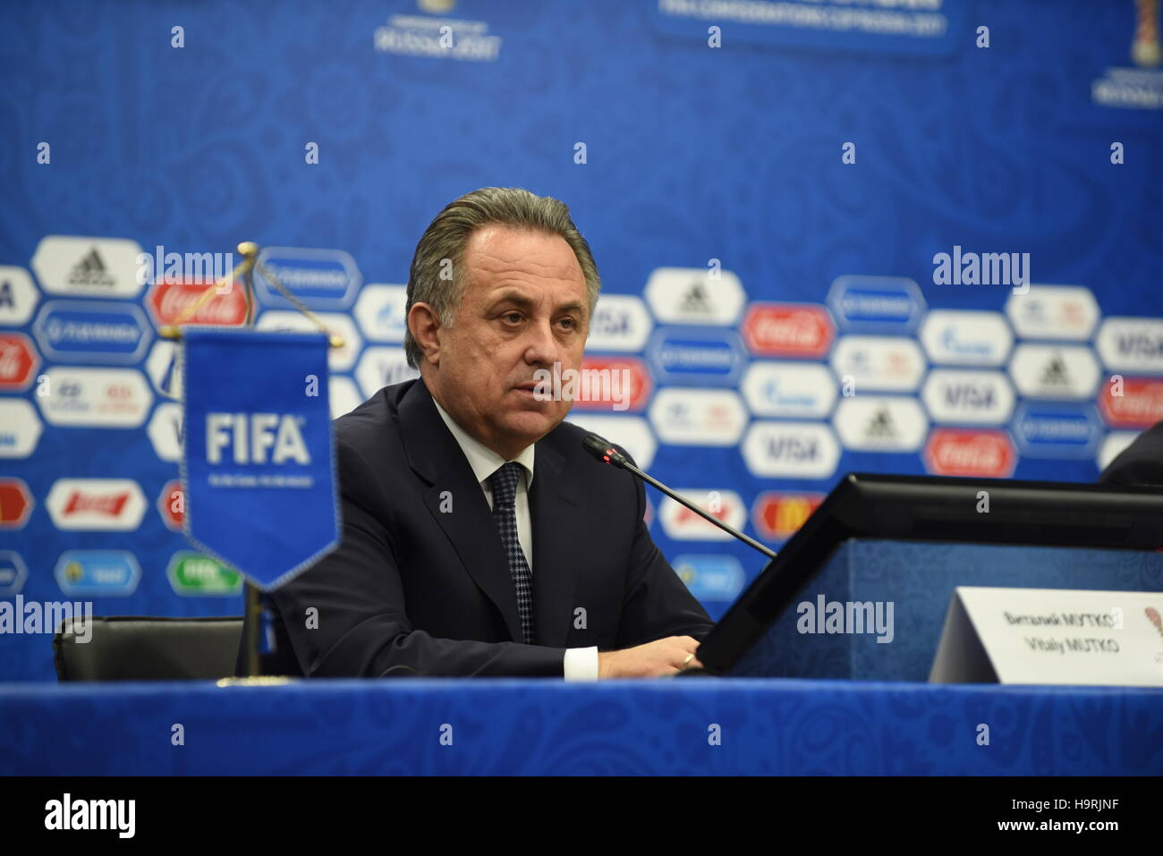 Kazan, Russia. 26th Nov, 2016. Russian Deputy Prime Minister Vitaly Mutko addresses the media during a press conference - Stock Image