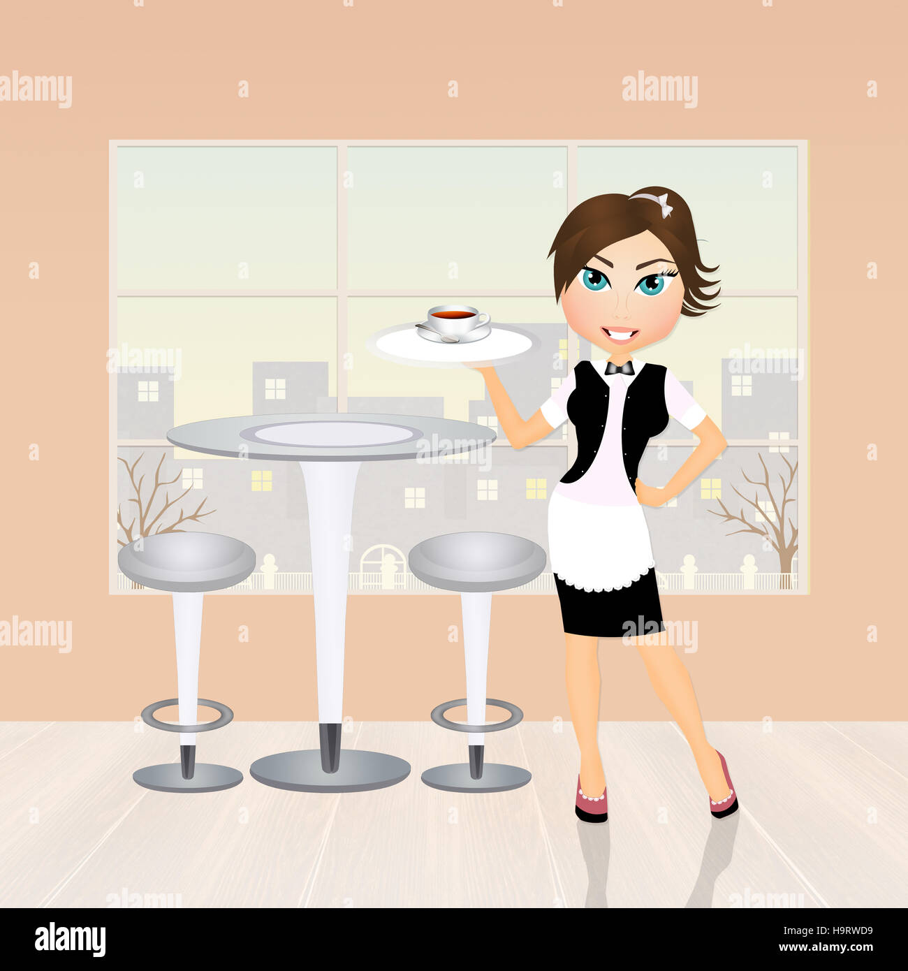 girl serving cafè Stock Photo