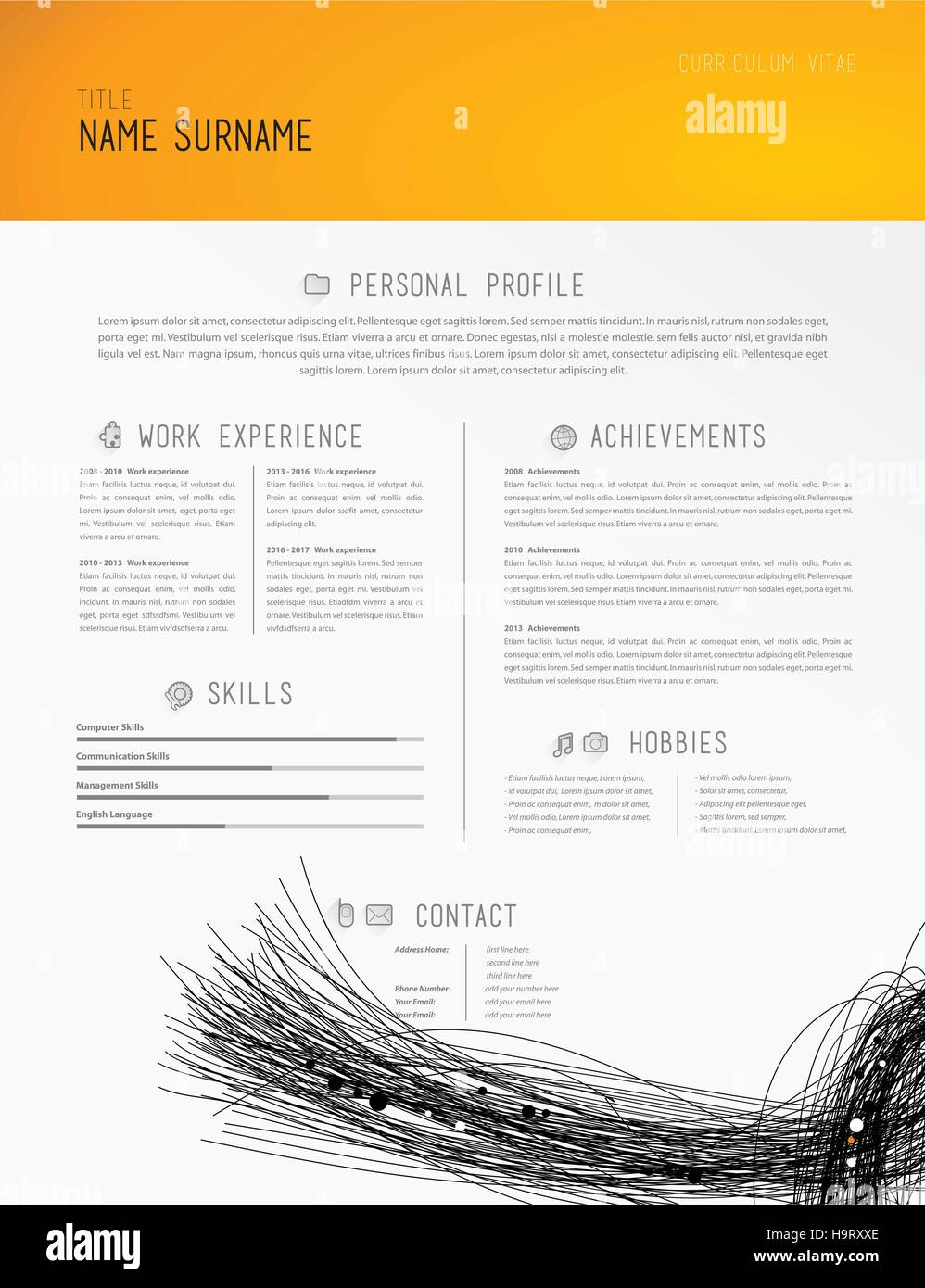 creative simple cv template with black lines in footer stock vector