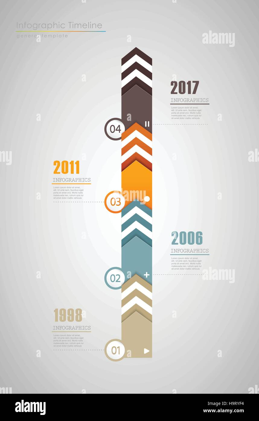 colorful infographic typographic timeline report template with