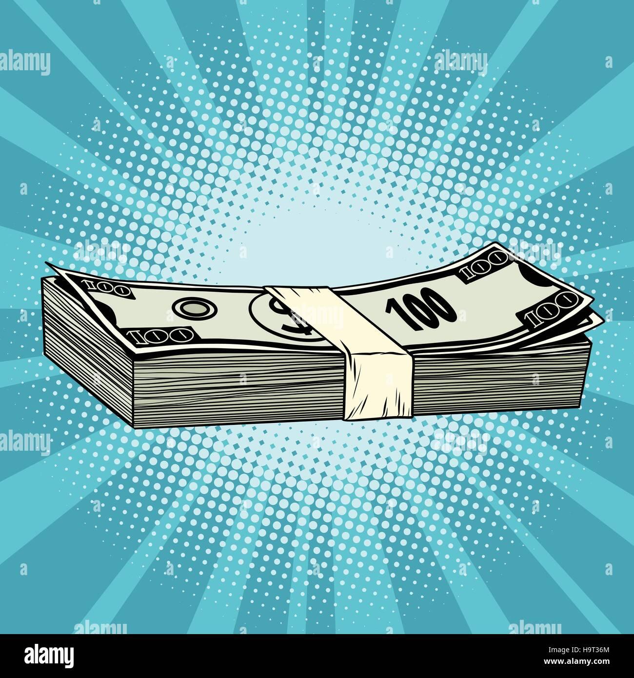 The package of hundred-dollar bills, wealth, business and Finance, pop art retro vector illustration - Stock Vector