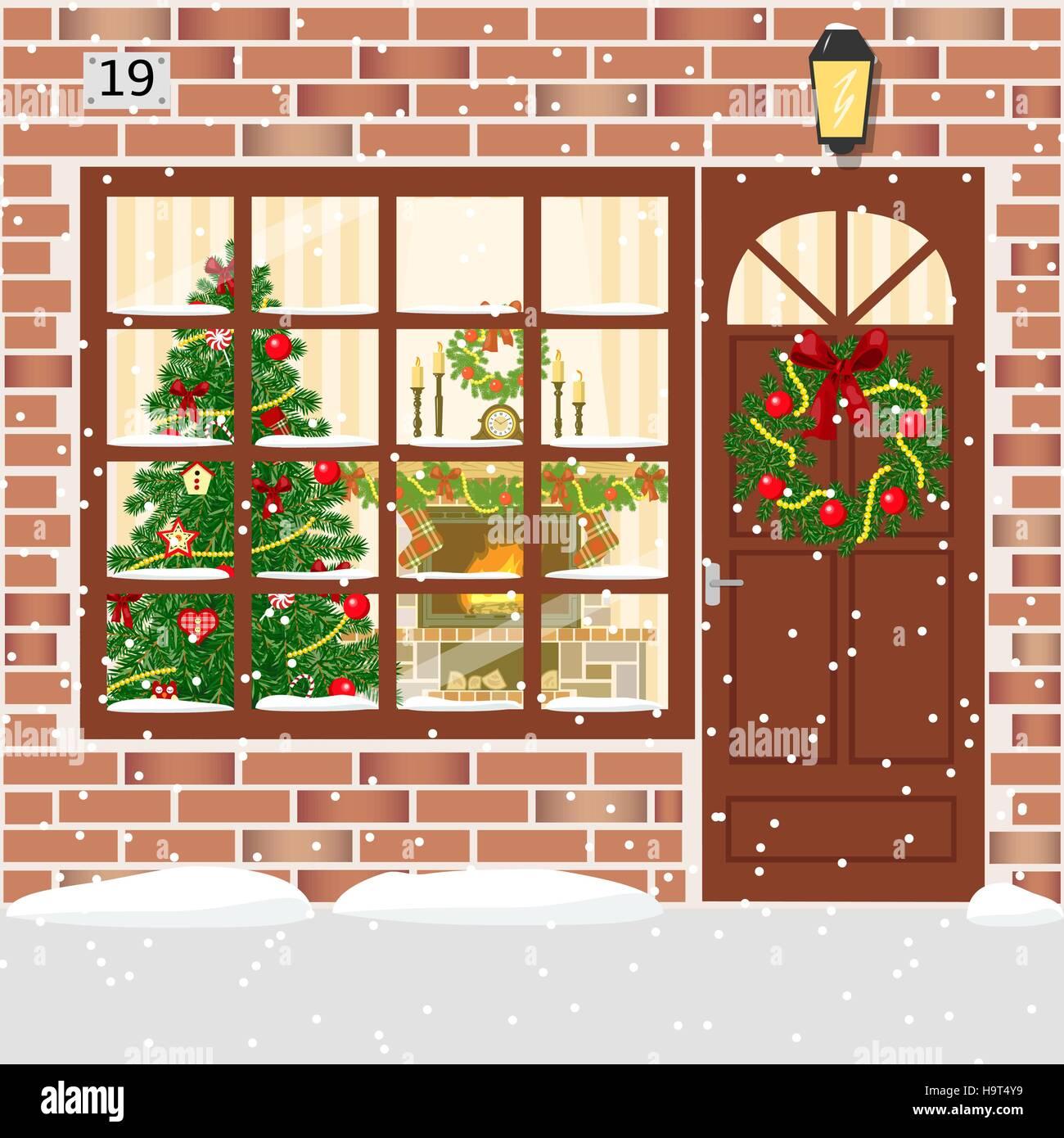 Christmas Room Stock Vector Image Of Illuminated: House Entrance Decoration Stock Photos & House Entrance