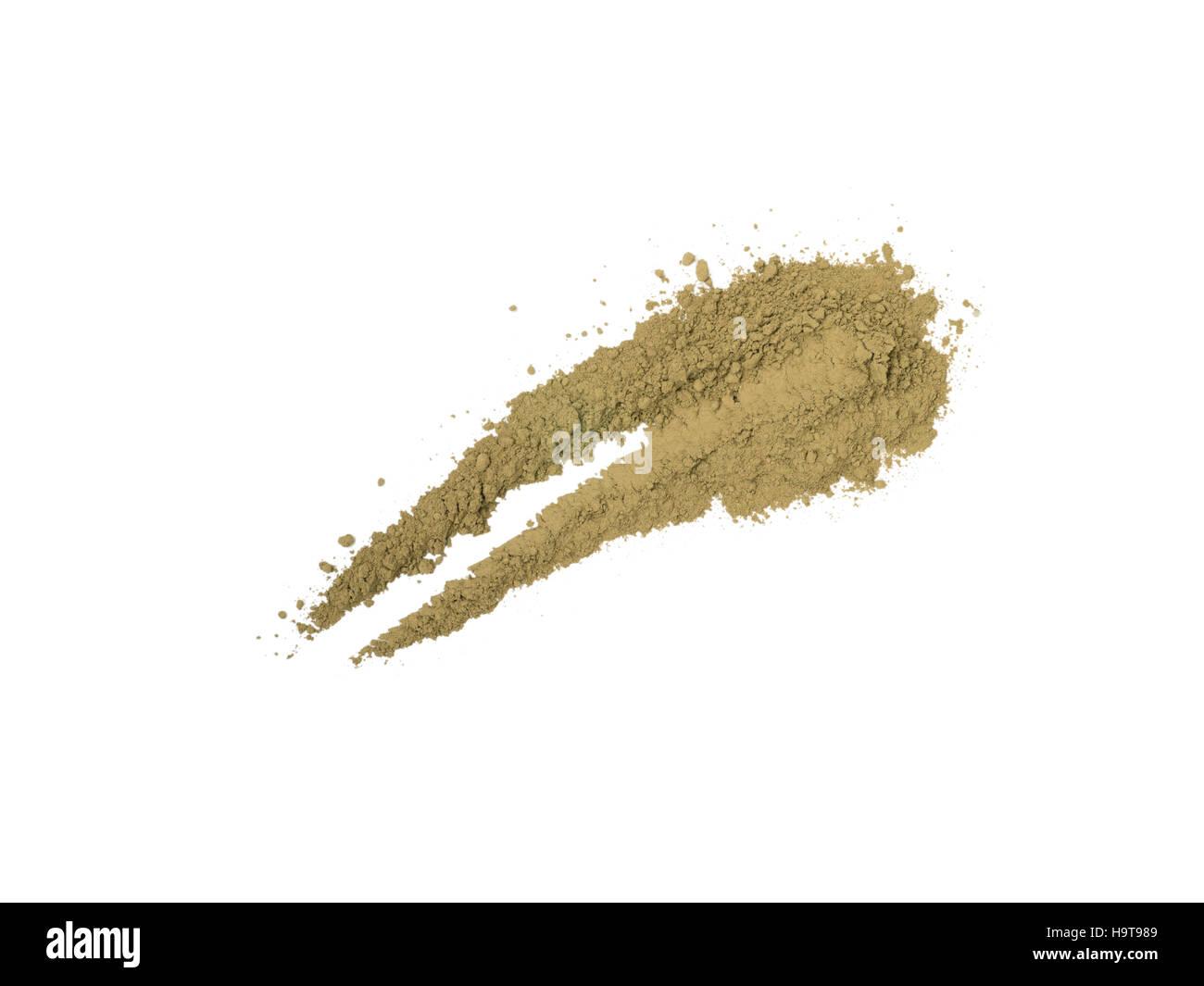 Henna lawsonia inermis powder sample stroke - Stock Image