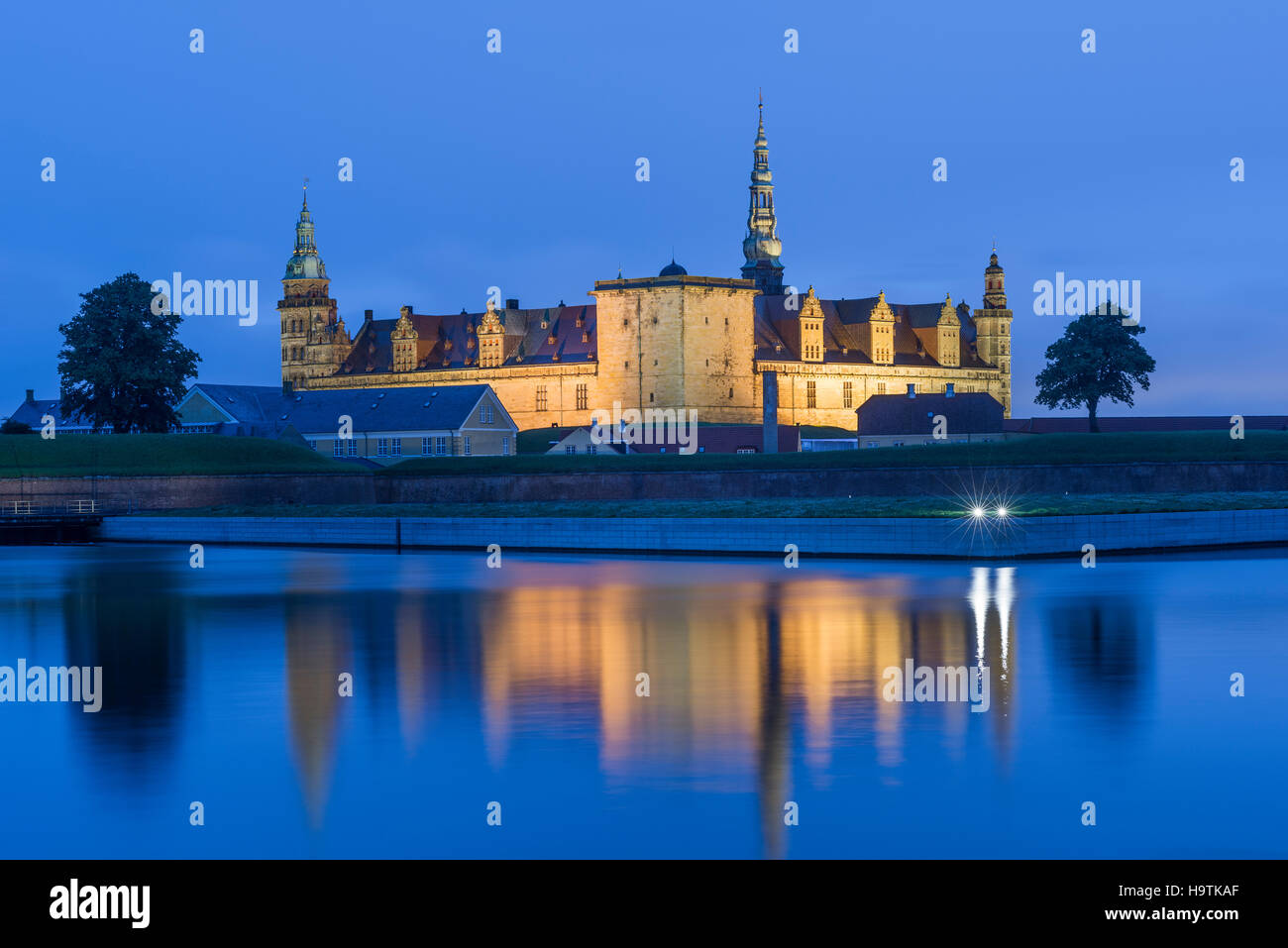 Kronborg Castle and fortress at night in Elsinore, Denmark - Stock Image