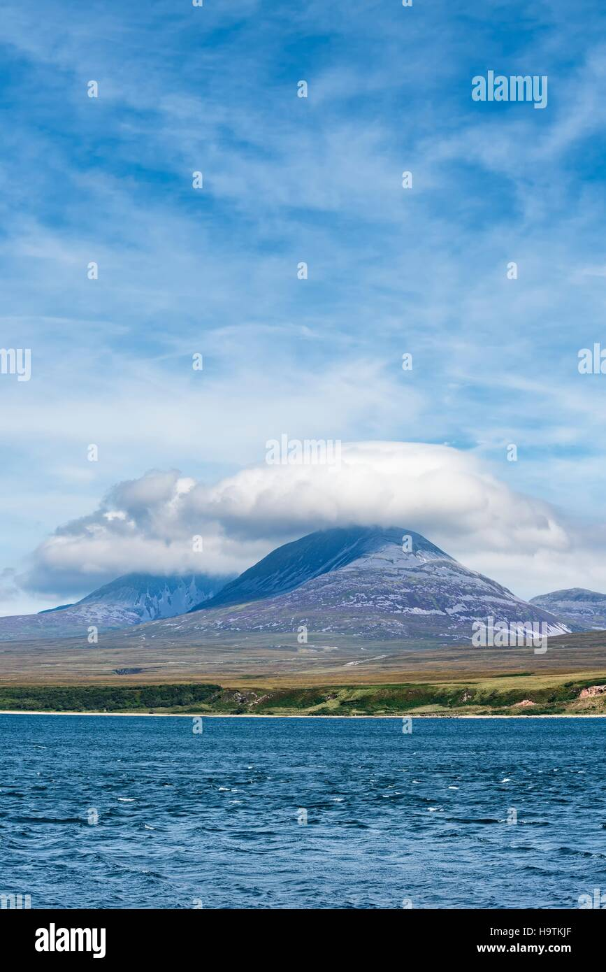Overlooking the Straits, Sound of Islay, to Jura with the Paps of Jura, Isle of Islay, Inner Hebrides, Scotland, - Stock Image