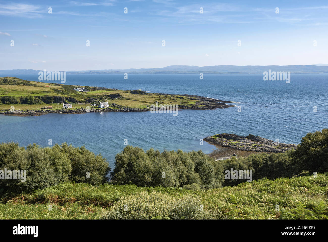 View over the Bay Tarbert, Isle of Jura, Inner Hebrides, Scotland, United Kingdom - Stock Image