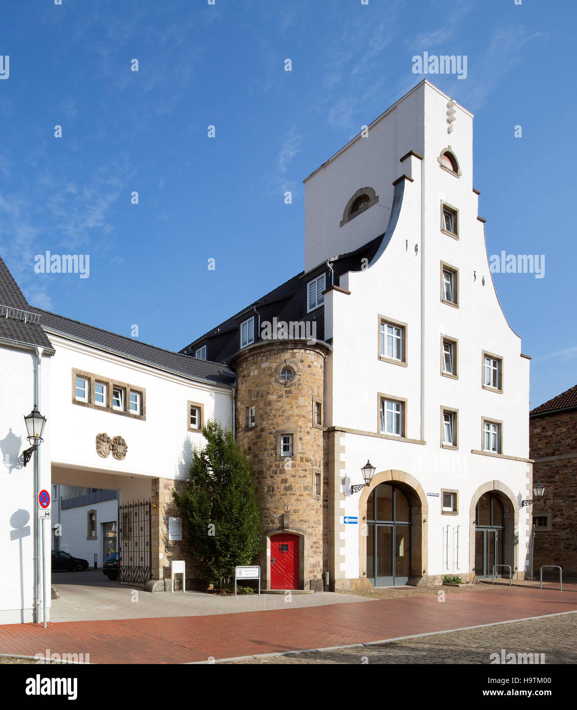 Residential buildings, former fire station, Hamelin, Lower Saxony, Germany - Stock Image