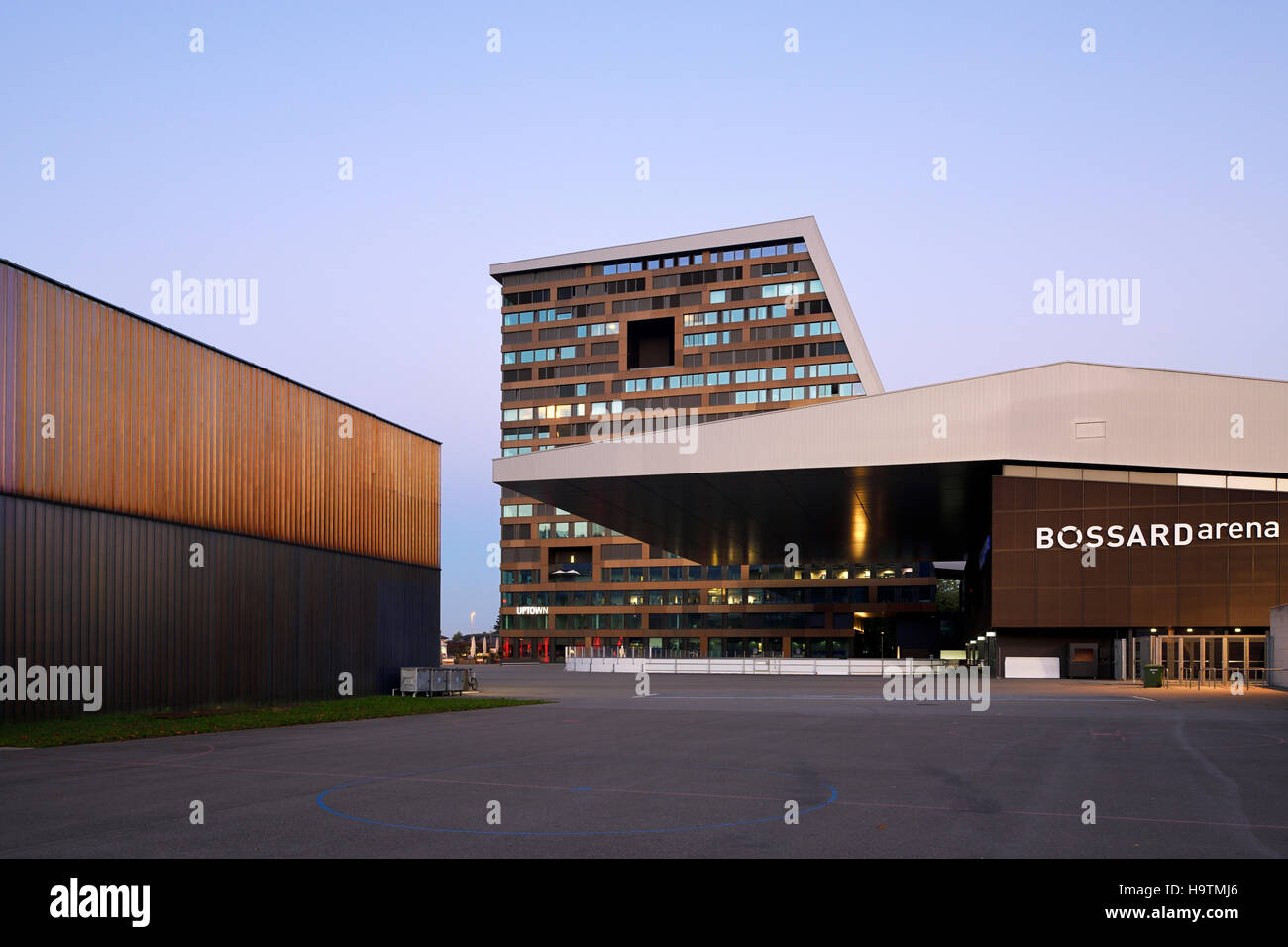 Bossard Arena and Up-Town highrise, Zug, canton of Zug, Switzerland - Stock Image