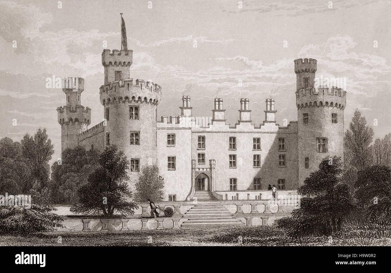 19th Century view of Kilkenny Castle, built in 1195 to control a fording-point of the River Nore and the junction - Stock Image