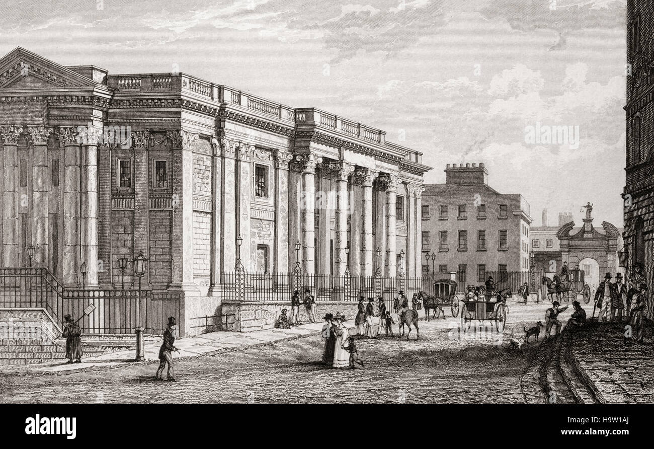 19th Century view of the Royal Exchange, built between 1769 and 1779 to the designs of architect Thomas Cooley. Stock Photo