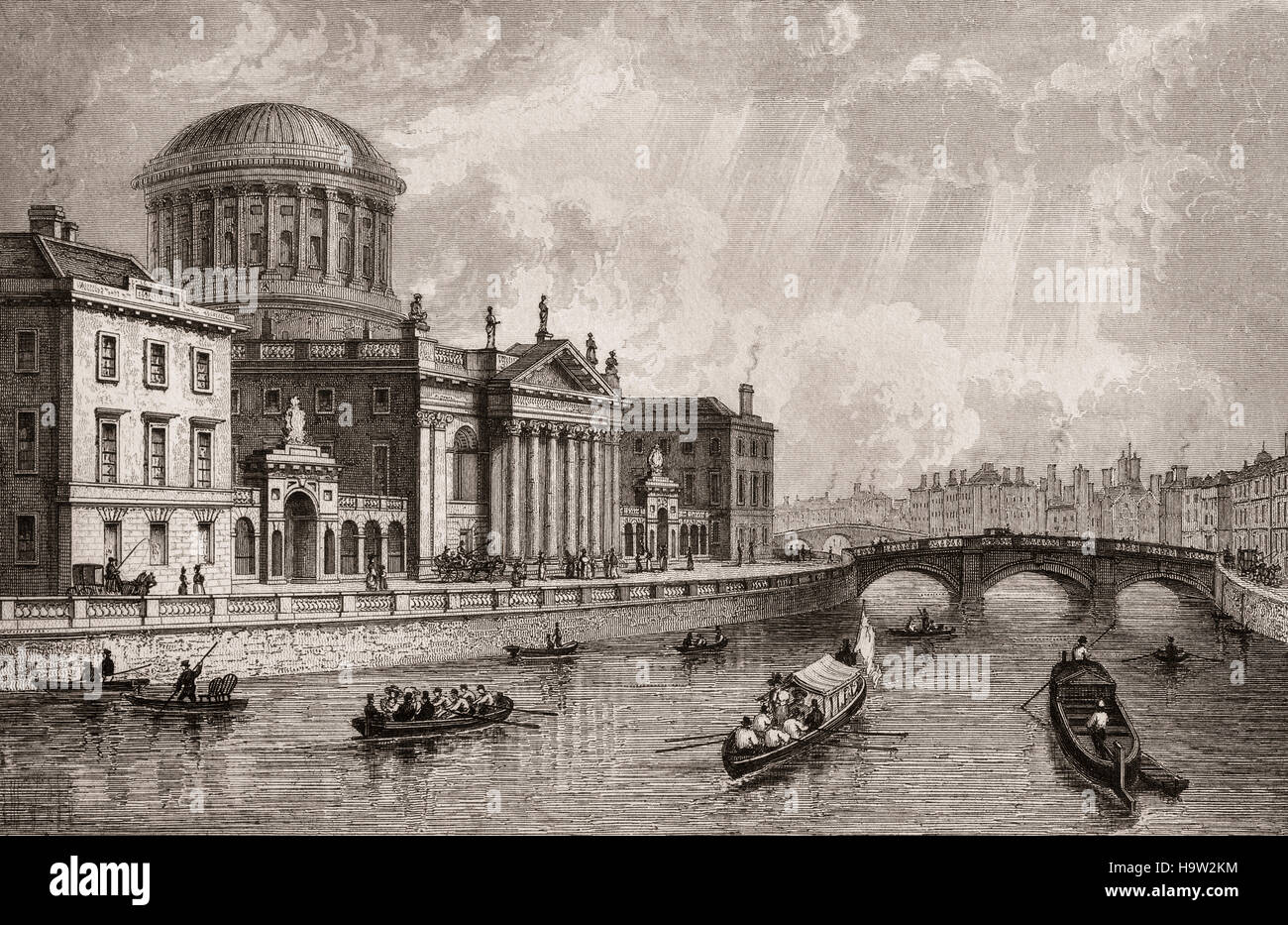 19th Century view of The Four Courts on Inns Quay, beside the River Liffey in Dublin. It is  the location of the - Stock Image