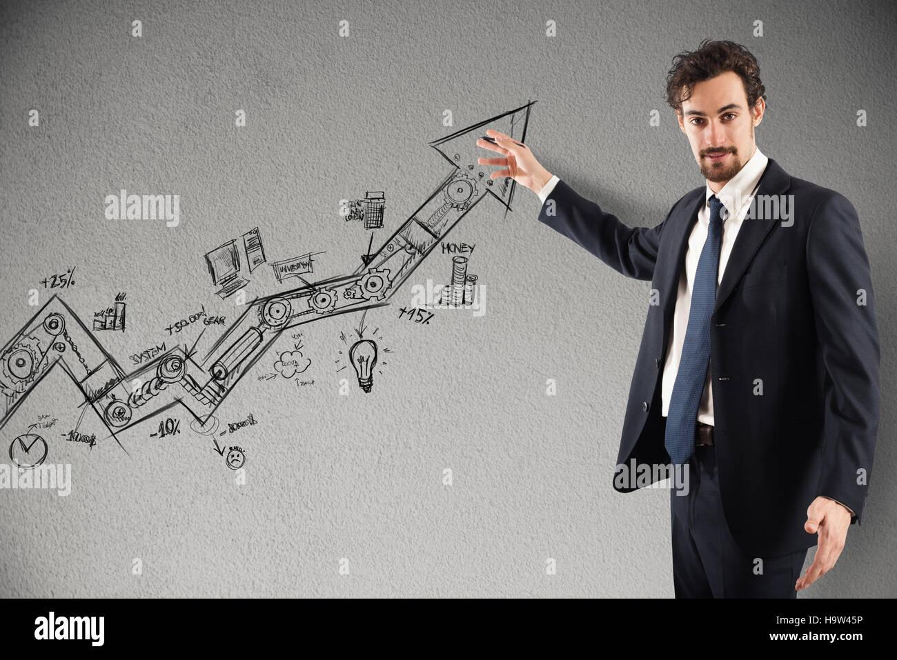 Business statistics uphill - Stock Image