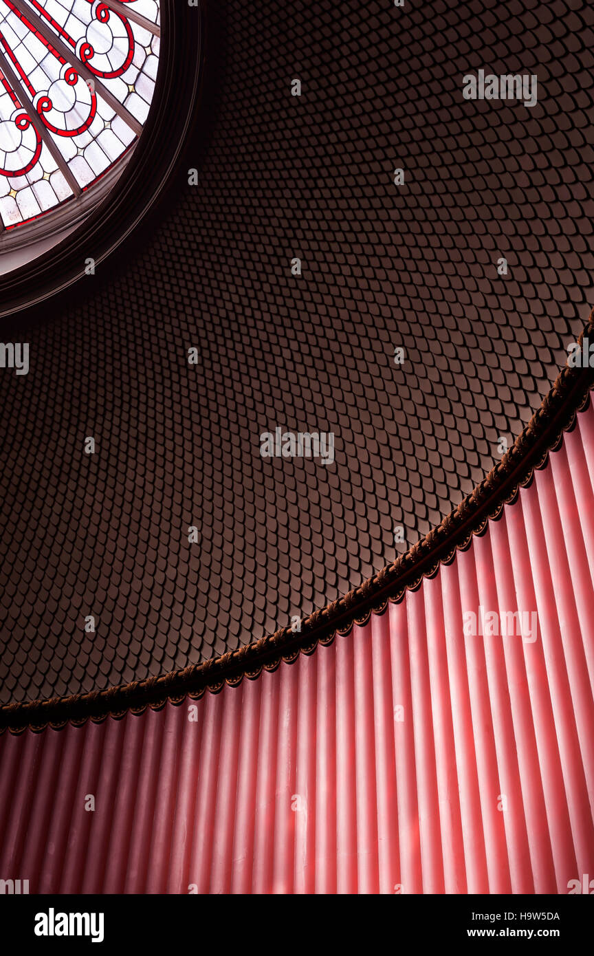 Detail of the ribbed plasterwork and fish-scale design of the dome of the Staircase at Attingham Park, Shropshire. - Stock Image