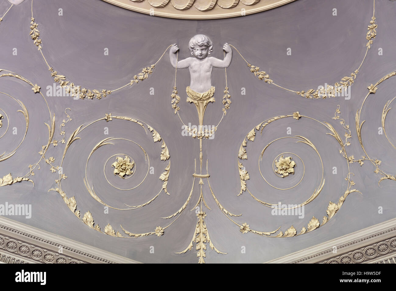 Detail of the plasterwork ceiling in The Octagon at Attingham Park, Shropshire. - Stock Image