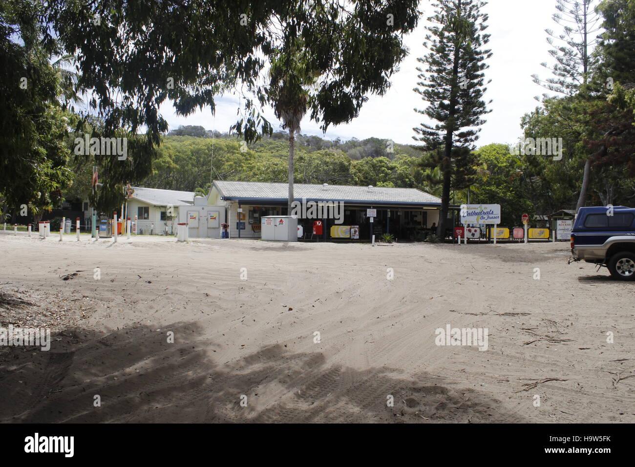Fuel Station at Fraser Island, QLD, Australia - Stock Image
