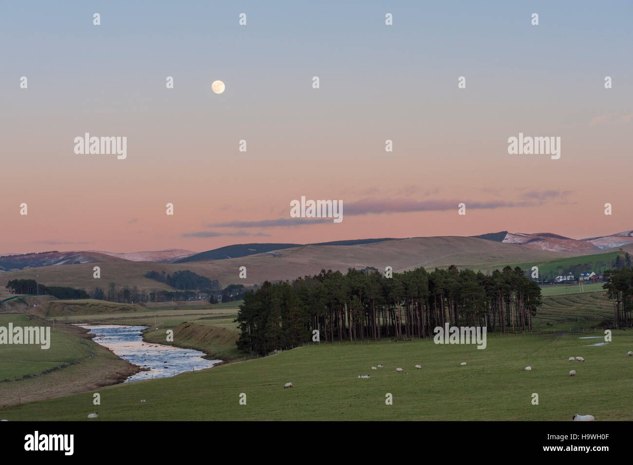 The river clyde at Abington Lanarkshire with a full moon rising - Stock Image