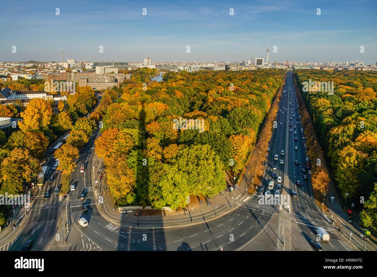 Tiergarten in autumn,View from victory column, 17. Juni, ,  Berlin - Stock Image