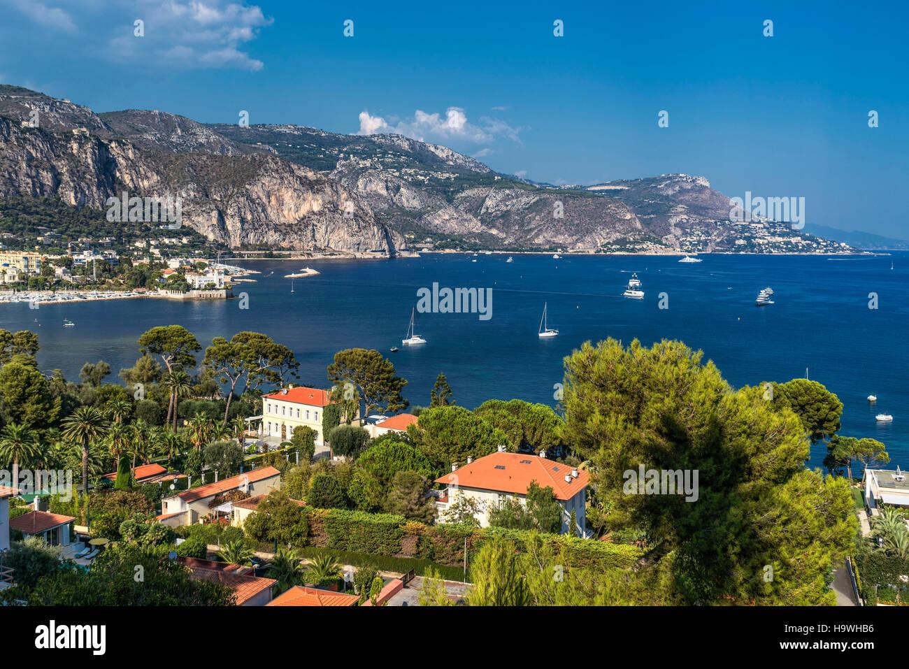 Saint Jean Cap Ferrat, Luxery Villa, Yachts, Meditarrenean Sea,background Villa Grecque Kerylos, Beaulieu Sur Mer, - Stock Image